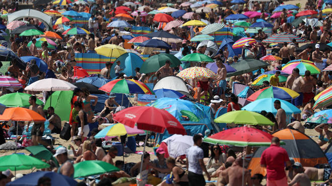 The packed sands of Bournemouth beach today