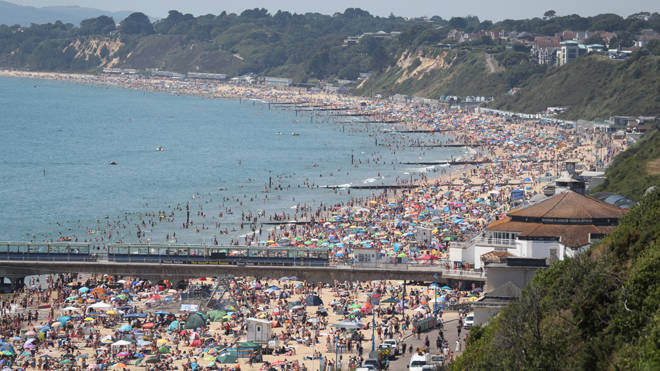 The whole of Bournemouth beach was teeming with people