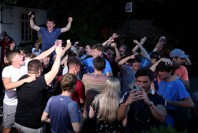Crowds across Liverpool celebrated the win despite lockdown rules