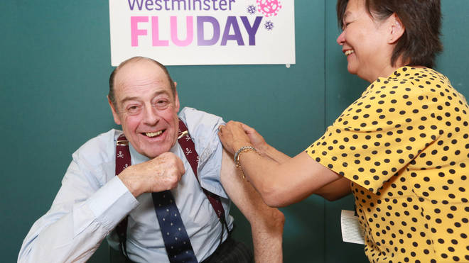 Nicholas Soames MP gets his flu jab