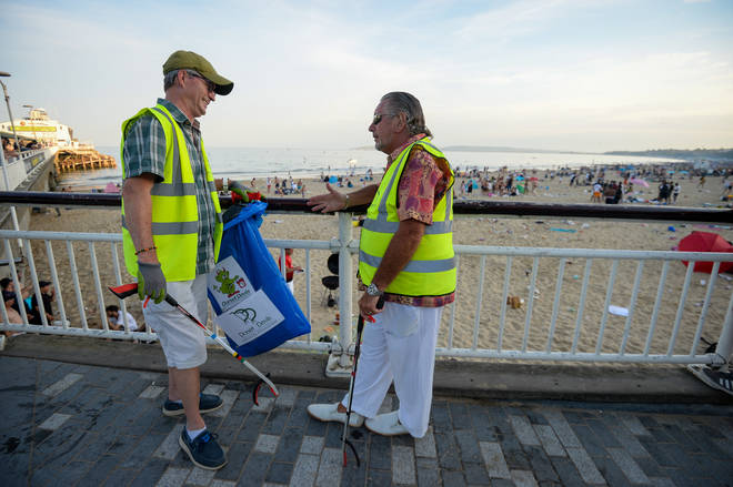 Local volunteers clearing the beach in Bournemouth on Friday morning