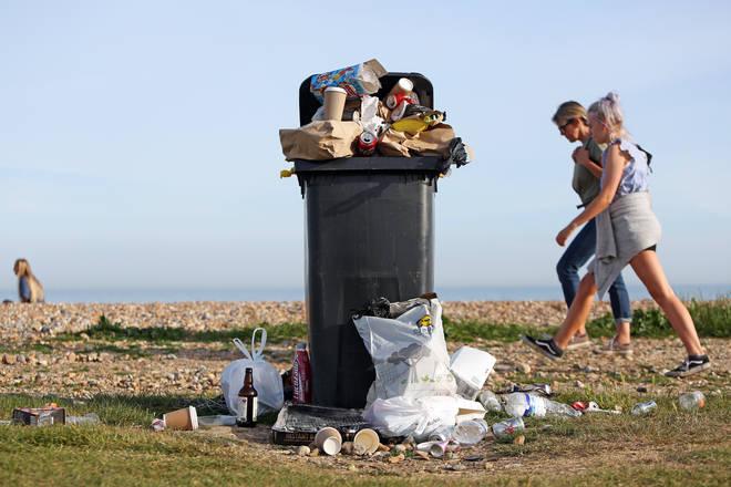 Wheelie bins were left overflowing on Worthing seafront
