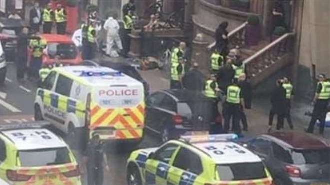 Police at the scene in the aftermath of the stabbing incident in Glasgow