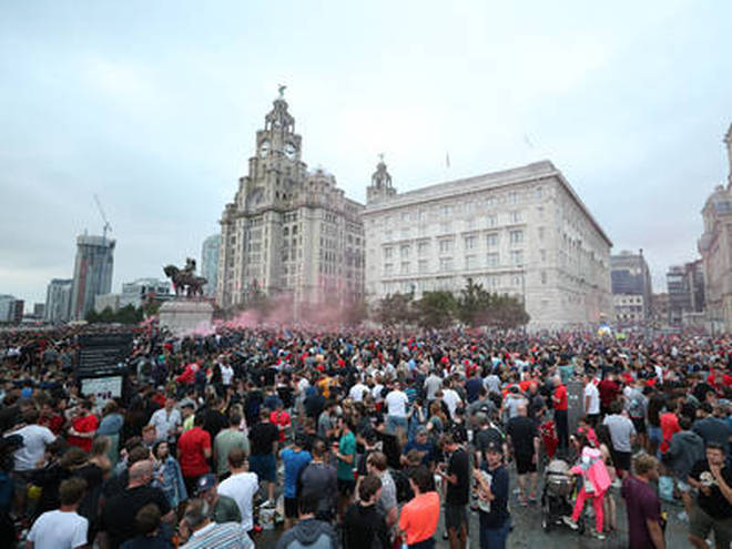 Large crowds gathered outside the Liver Building on Friday