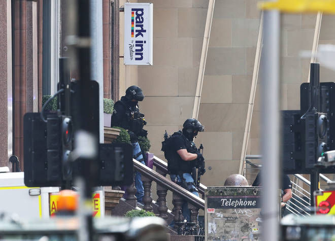 Armed police responded to the attack in Glasgow city centre