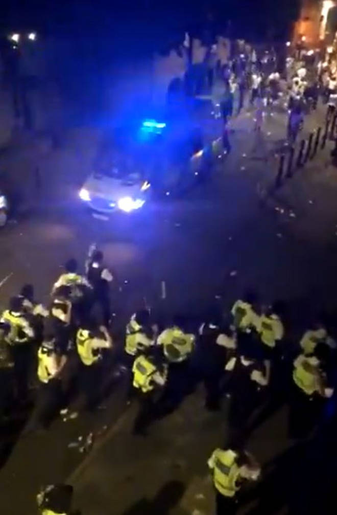 Scotland Yard said officers were called to multiple reports of a large gathering on Overton Road in Brixton on Wednesday