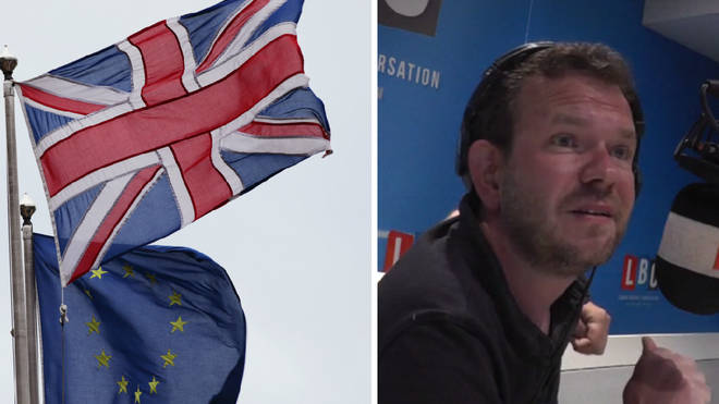 James O'Brien next to some flags