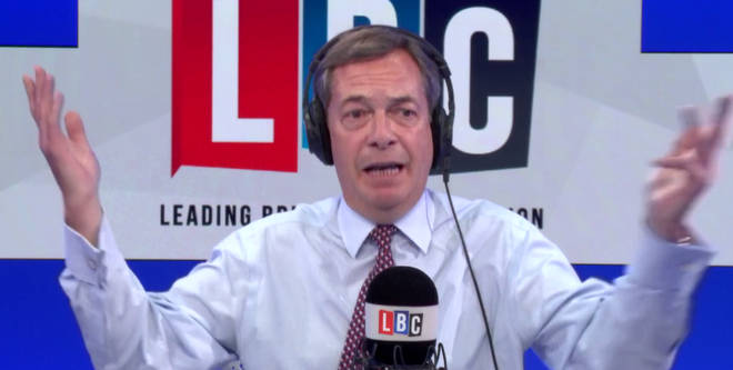 Nigel Farage clashed with a caller over the cost of independence and democracy