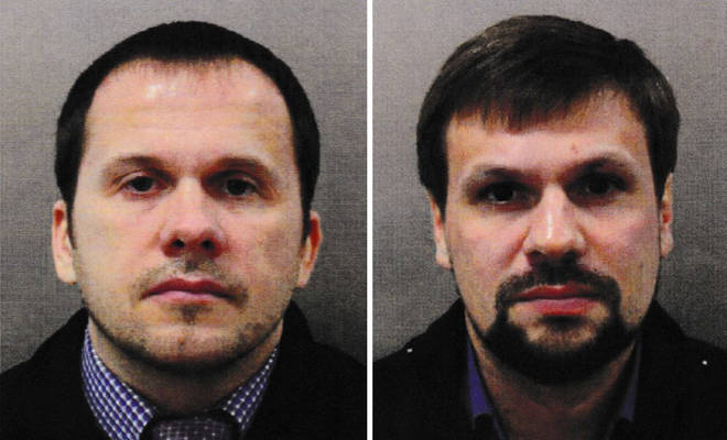 The two men, Ruslan Boshirov and Alexander Petrov, police believe poisoned the Skripals in Salisbury