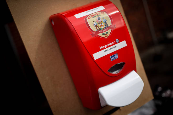 Barnley FC offers hand sanitiser for their players