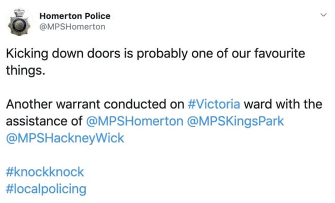 The Homerton Police tweet that drew criticism has since been deleted