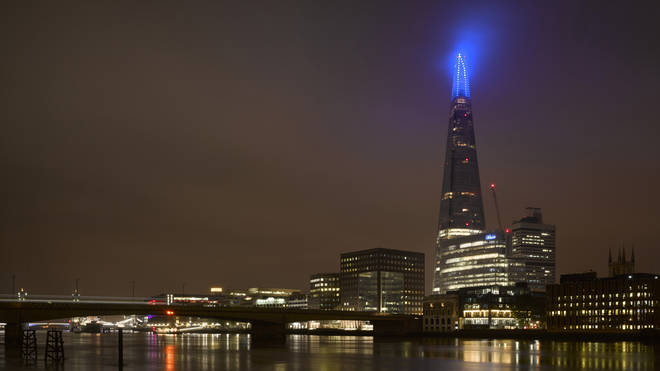 Landmarks lit up in blue in honour of the NHS