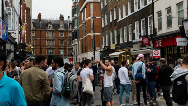"""Customers enjoying their drinks in Soho during the """"Super Saturday"""" in London"""