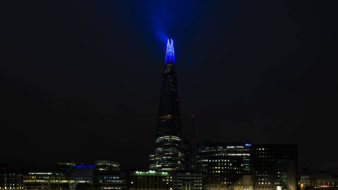The Shard illuminated blue on Friday evening as part of the NHS birthday celebrations