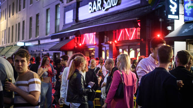 People gathered in Soho until the small hours of Sunday