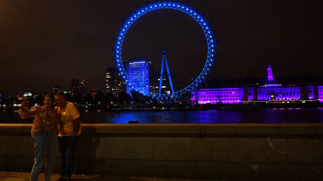 The London Eye illuminated blue for the 72nd anniversary of the NHS