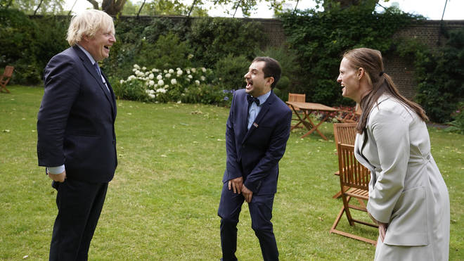 The Prime Minister also met NHS workers in the Number 10 garden on Sunday afternoon