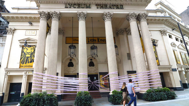 The Lyceum Theatre in London is closed and wrapped in tape