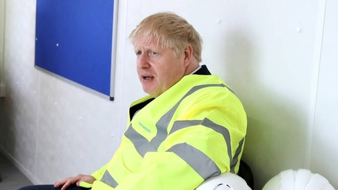 Boris Johnson pictured at a visit to a factory in Goole, Humberside