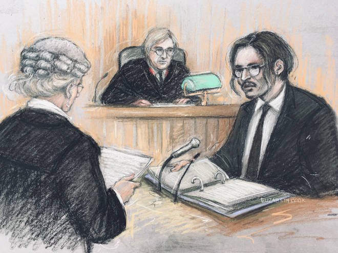 Mr Depp in a court sketch speaking today