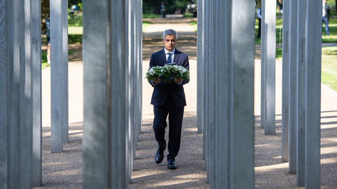Sadiq Khan lays a wreath at the 7/7 memorial on Tuesday