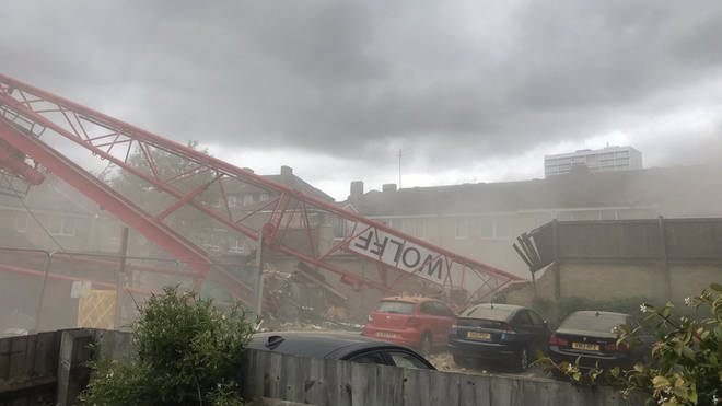 The crane moments after it collapsed