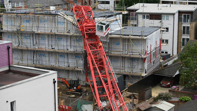 The crane collapsed onto homes in Bow yesterday