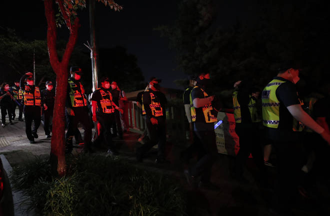 Around 600 police and fire service workers were searching for Park Won-soon