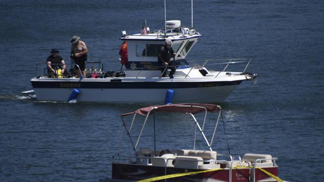 Police dive teams searching the lake for Naya Rivera