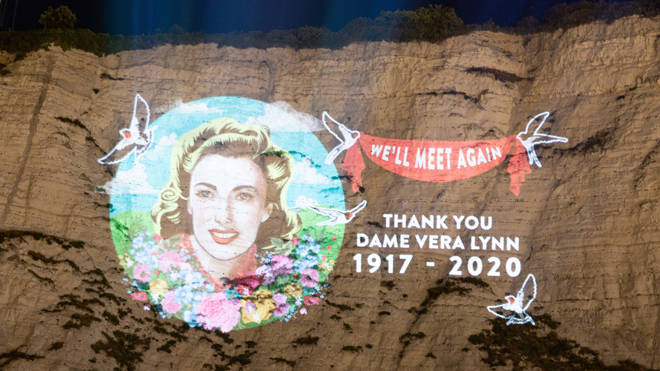 Vera Lynn's image was projected onto the cliffs of Dover