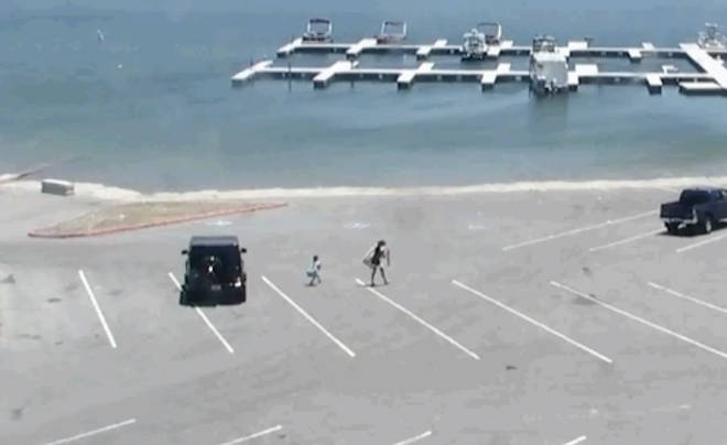 Police have released CCTV of the star and her son walking to the lake