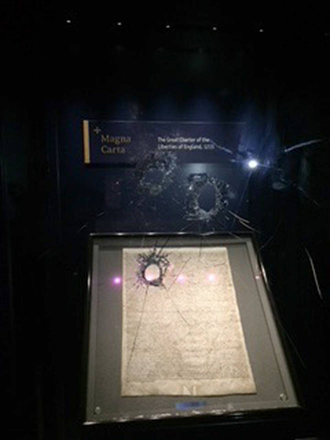 the damaged box which holds the Magna Carta in Salisbury Cathedral