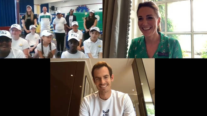 The duchess and the player joined the children at the end of their lesson with AELTC head coach Dan Bloxham