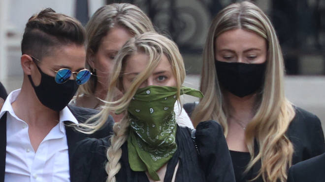 Actress Amber Heard leaving the High Court in London after a hearing in Johnny Depp's libel case
