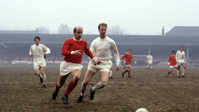Jack (R) and Bobby Charlton (L) playing against one another for Manchester United and Leeds United in 1969