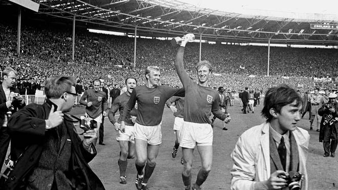 Jack Charlton holding aloft the Jules Rimet World Cup for England in 1966