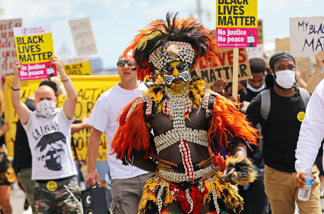 Activists marched through Brighton in solidarity with BLM