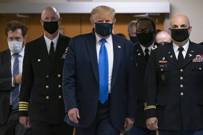 Trump wore the mask on a visit to a military hospital