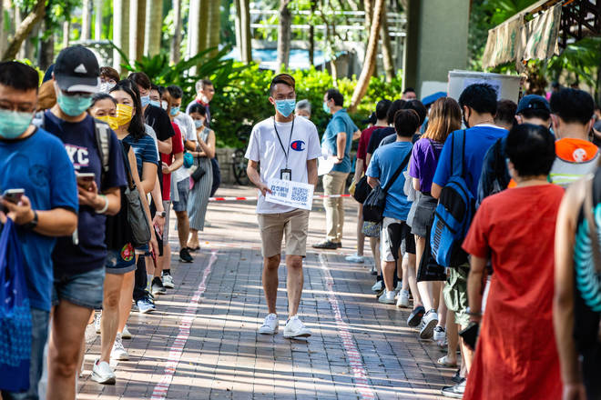 Hong Kong citizens gathered at polling stations across the city to consolidate votes for pan-democratic candidates