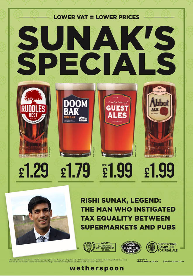Branding the discounts 'sunak's specials' the pub chain announced reductions