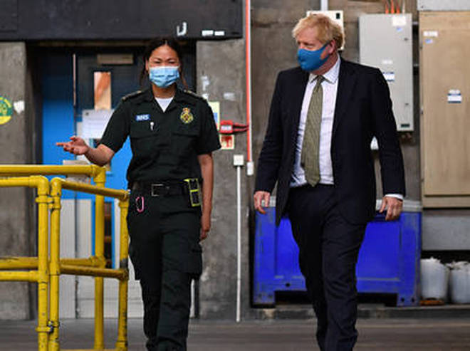 Mr Johnson was meeting with London Ambulance Service workers today