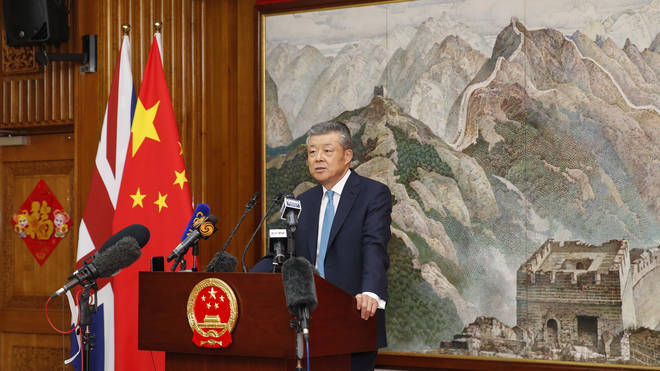 Chinese Ambassador to Britain Liu Xiaoming speaks at a news conference in London