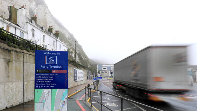 A lorry arrives at the Port of Dover in Kent