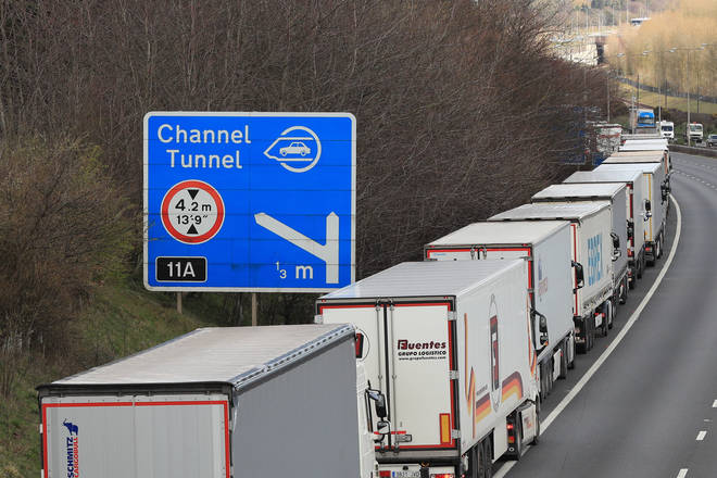 Lorries queuing along the M20 as part of Operation Stack in 2019