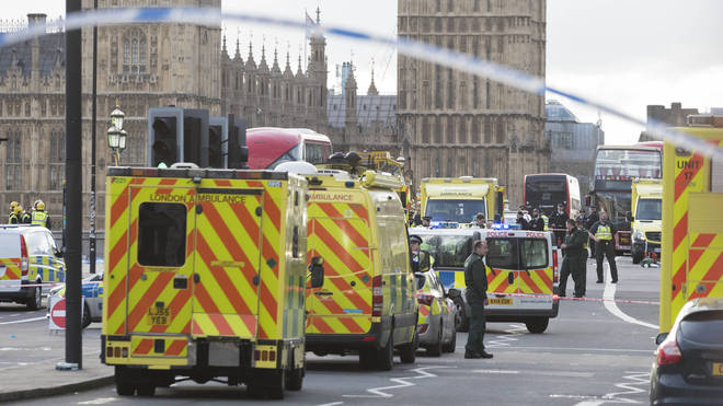 Scene in Westminster after last year's terror attack