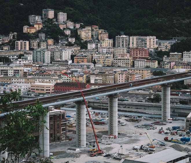 The new bridge, to replace the Morandi Bridge, was completed in April
