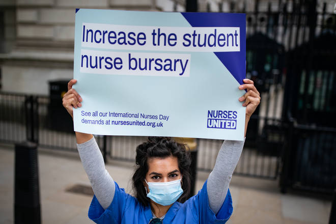 Nurses from central London hospitals protesting about pay in May
