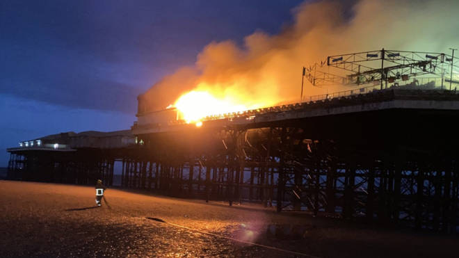 The pier on fire this morning