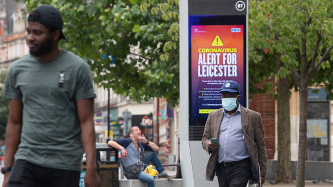 Lockdown alert signs in the centre of Leicester