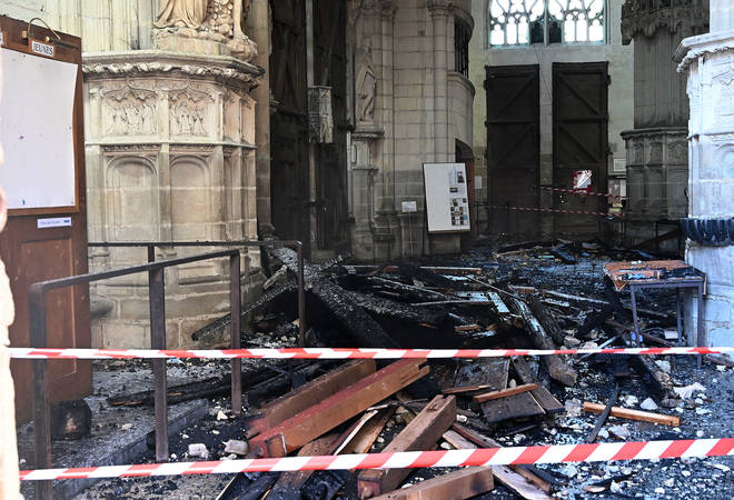 Fire damage inside the cathedral in Nantes, France